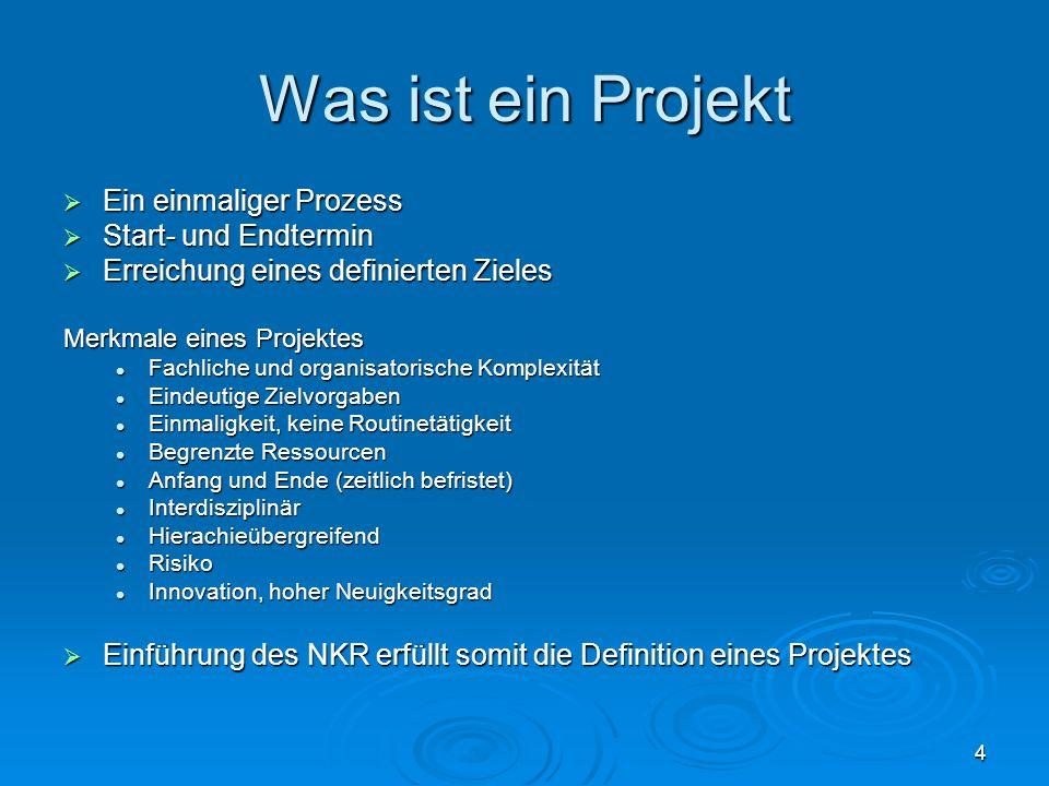 4 Was ist ein Projekt  Ein einmaliger Prozess  Start- und Endtermin  Erreichung eines definierten Zieles Merkmale eines Projektes Fachliche und org