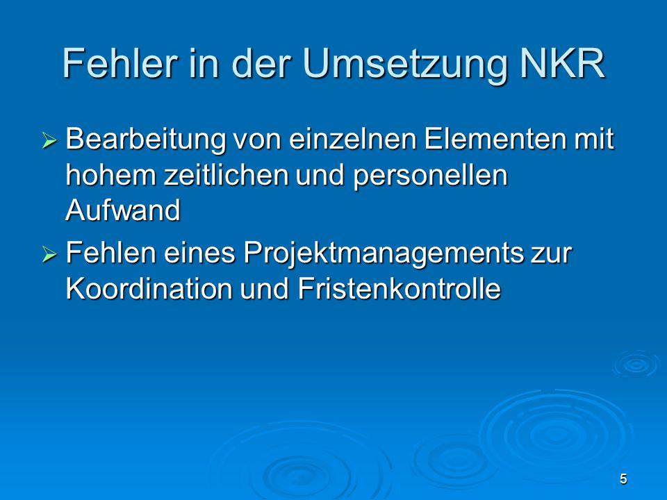 5 Fehler in der Umsetzung NKR  Bearbeitung von einzelnen Elementen mit hohem zeitlichen und personellen Aufwand  Fehlen eines Projektmanagements zur