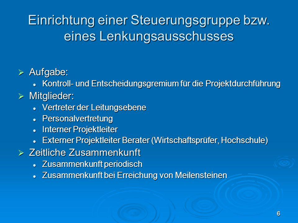 6 Einrichtung einer Steuerungsgruppe bzw. eines Lenkungsausschusses  Aufgabe: Kontroll- und Entscheidungsgremium für die Projektdurchführung Kontroll