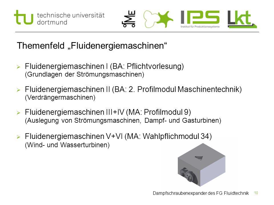 """10 Themenfeld """"Fluidenergiemaschinen""""  Fluidenergiemaschinen I (BA: Pflichtvorlesung) (Grundlagen der Strömungsmaschinen)  Fluidenergiemaschinen II"""