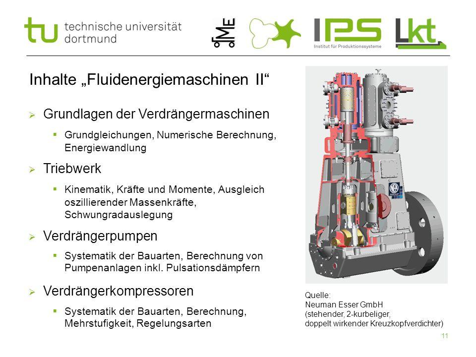 """11 Inhalte """"Fluidenergiemaschinen II"""" Quelle: Neuman Esser GmbH (stehender, 2-kurbeliger, doppelt wirkender Kreuzkopfverdichter)  Grundlagen der Verd"""