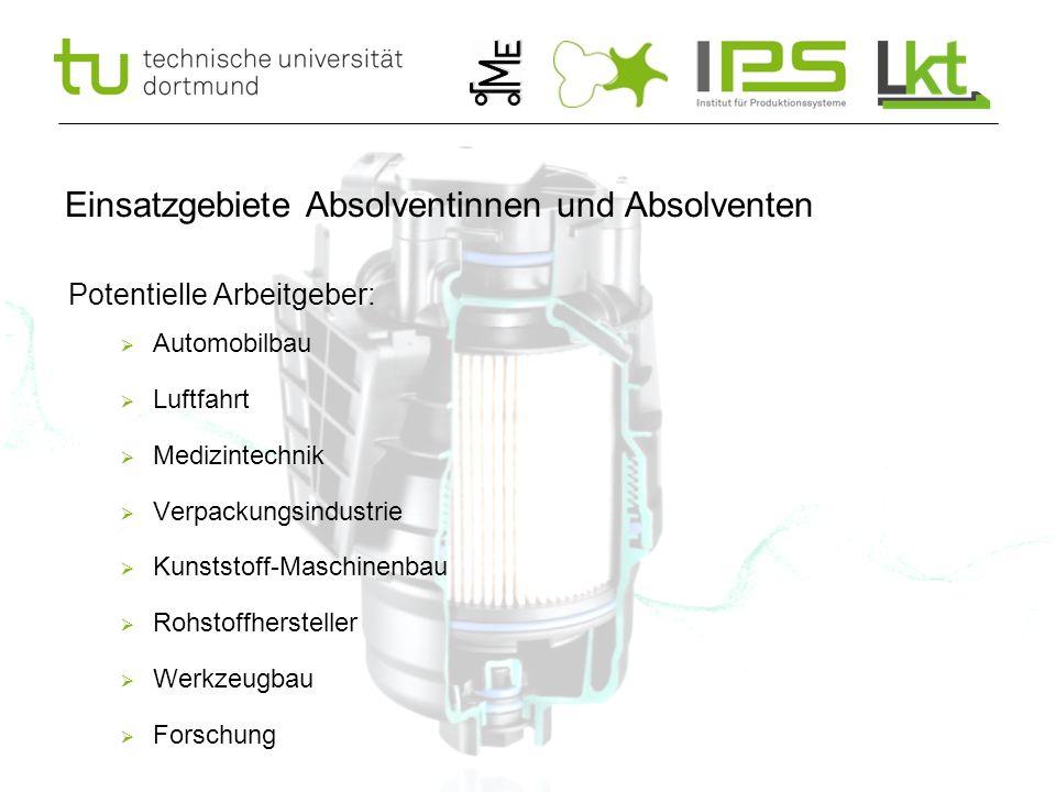 15 Einsatzgebiete Absolventinnen und Absolventen Potentielle Arbeitgeber:  Automobilbau  Luftfahrt  Medizintechnik  Verpackungsindustrie  Kunstst
