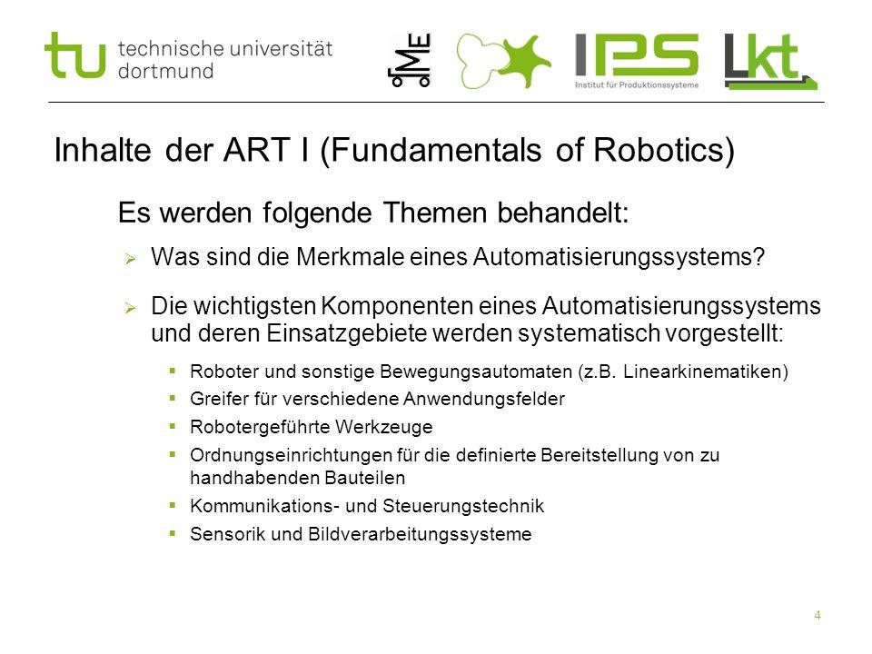 4 Inhalte der ART I (Fundamentals of Robotics)  Es werden folgende Themen behandelt:  Was sind die Merkmale eines Automatisierungssystems?  Die wic