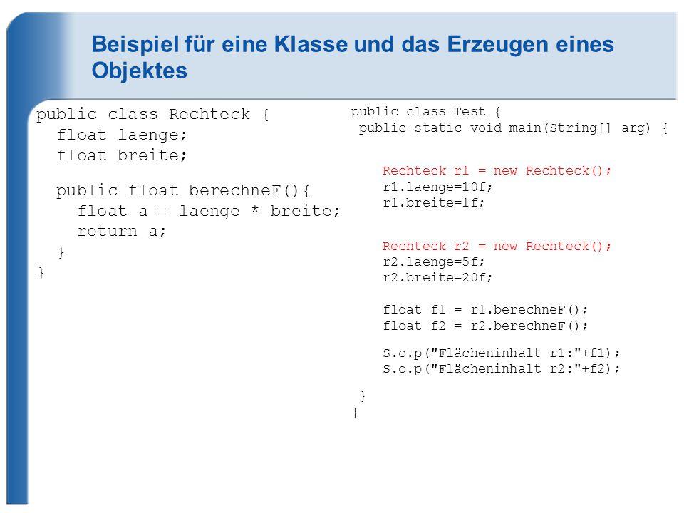 Beispiel für eine Klasse und das Erzeugen eines Objektes public class Rechteck { float laenge; float breite; public float berechneF(){ float a = laenge * breite; return a; } } public class Test { public static void main(String[] arg) { Rechteck r1 = new Rechteck(); r1.laenge=10f; r1.breite=1f; Rechteck r2 = new Rechteck(); r2.laenge=5f; r2.breite=20f; float f1 = r1.berechneF(); float f2 = r2.berechneF(); S.o.p( Flächeninhalt r1: +f1); S.o.p( Flächeninhalt r2: +f2); } }