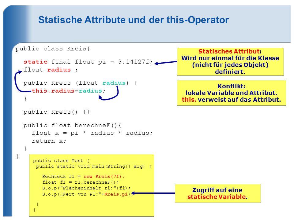 Statische Attribute und der this-Operator public class Kreis{ static final float pi = 3.14127f; float radius ; public Kreis (float radius) { this.radius=radius; } public Kreis() {} public float berechneF(){ float x = pi * radius * radius; return x; } } Statisches Attribut: Wird nur einmal für die Klasse (nicht für jedes Objekt) definiert.