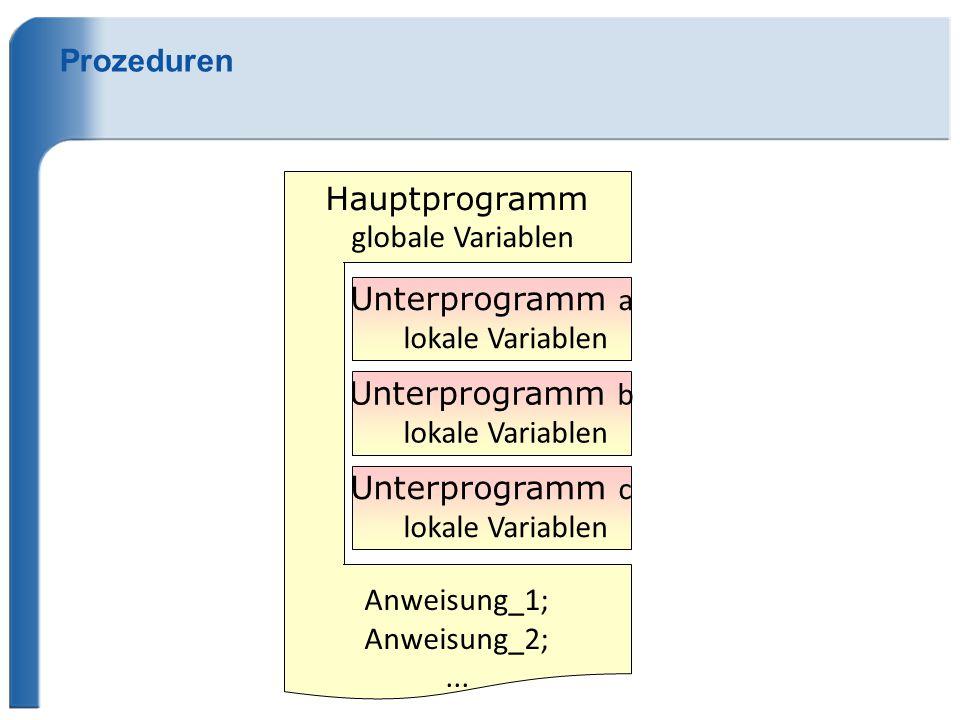 Hauptprogramm globale Variablen Prozeduren Anweisung_1; Anweisung_2;...