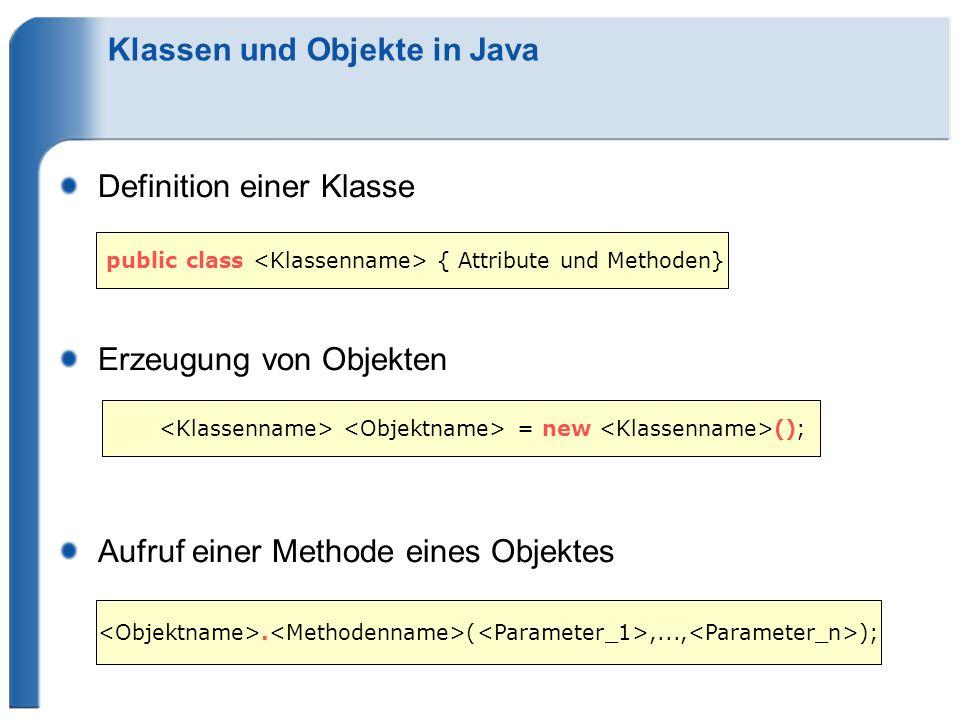 Klassen und Objekte in Java Definition einer Klasse Erzeugung von Objekten Aufruf einer Methode eines Objektes public class { Attribute und Methoden} = new ();.