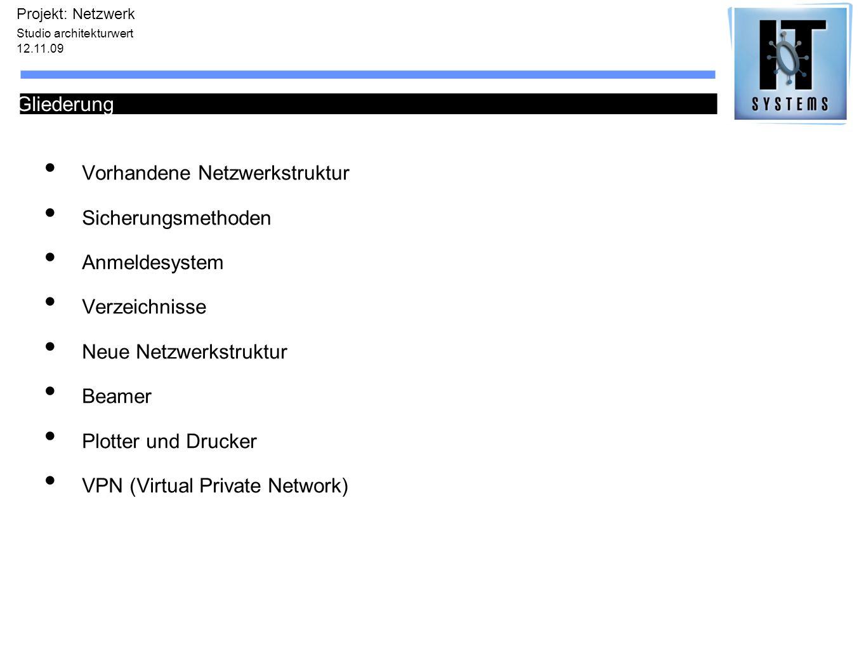 Vorhandene Netzwerkstruktur Sicherungsmethoden Anmeldesystem Verzeichnisse Neue Netzwerkstruktur Beamer Plotter und Drucker VPN (Virtual Private Netwo