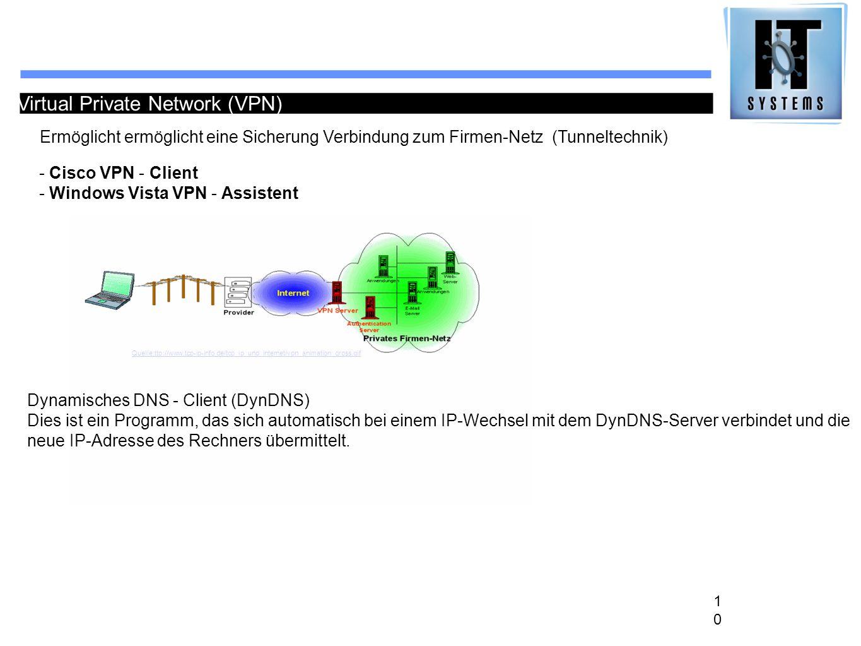 10 Virtual Private Network (VPN) Ermöglicht ermöglicht eine Sicherung Verbindung zum Firmen-Netz (Tunneltechnik) - Cisco VPN - Client - Windows Vista