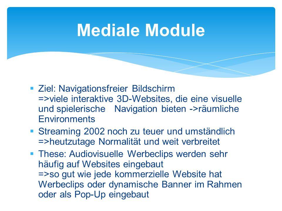  Ziel: Navigationsfreier Bildschirm =>viele interaktive 3D-Websites, die eine visuelle und spielerische Navigation bieten ->räumliche Environments  Streaming 2002 noch zu teuer und umständlich =>heutzutage Normalität und weit verbreitet  These: Audiovisuelle Werbeclips werden sehr häufig auf Websites eingebaut =>so gut wie jede kommerzielle Website hat Werbeclips oder dynamische Banner im Rahmen oder als Pop-Up eingebaut Mediale Module