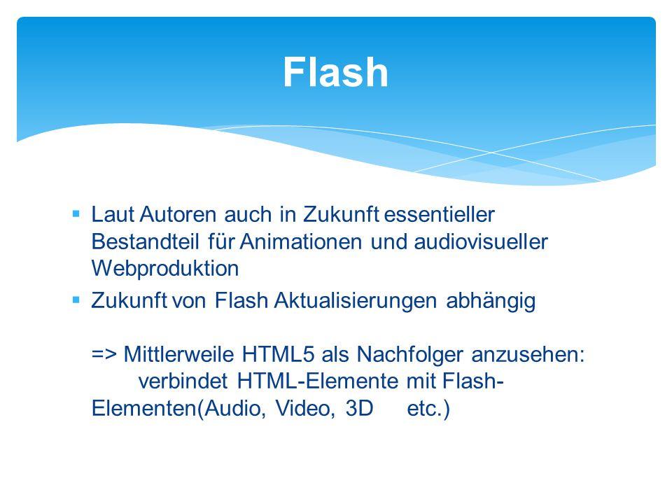 Laut Autoren auch in Zukunft essentieller Bestandteil für Animationen und audiovisueller Webproduktion  Zukunft von Flash Aktualisierungen abhängig => Mittlerweile HTML5 als Nachfolger anzusehen: verbindet HTML-Elemente mit Flash- Elementen(Audio, Video, 3D etc.) Flash