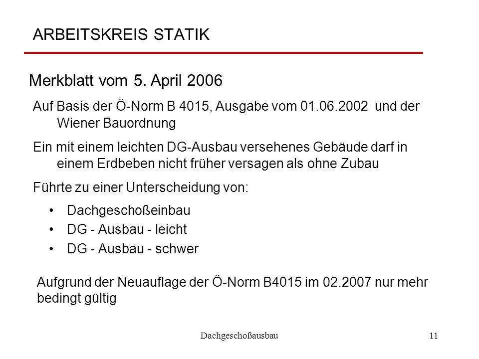 Dachgeschoßausbau11 ARBEITSKREIS STATIK Dachgeschoßeinbau DG - Ausbau - leicht DG - Ausbau - schwer Merkblatt vom 5. April 2006 Aufgrund der Neuauflag