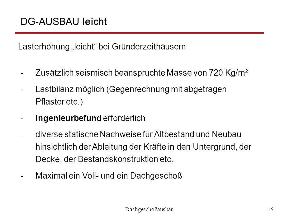 """Dachgeschoßausbau15 DG-AUSBAU leicht Lasterhöhung """"leicht"""" bei Gründerzeithäusern -Zusätzlich seismisch beanspruchte Masse von 720 Kg/m² -Lastbilanz m"""