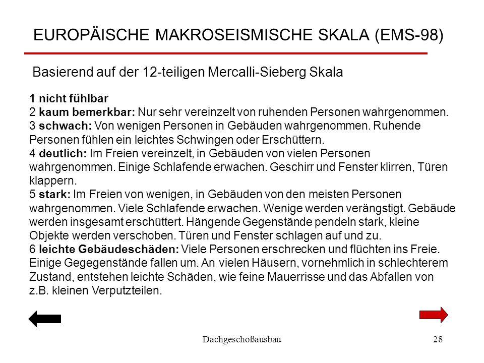 Dachgeschoßausbau28 EUROPÄISCHE MAKROSEISMISCHE SKALA (EMS-98) 1 nicht fühlbar 2 kaum bemerkbar: Nur sehr vereinzelt von ruhenden Personen wahrgenomme