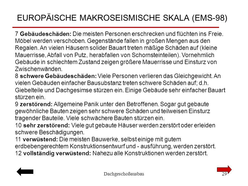 Dachgeschoßausbau29 EUROPÄISCHE MAKROSEISMISCHE SKALA (EMS-98) 7 Gebäudeschäden: Die meisten Personen erschrecken und flüchten ins Freie. Möbel werden