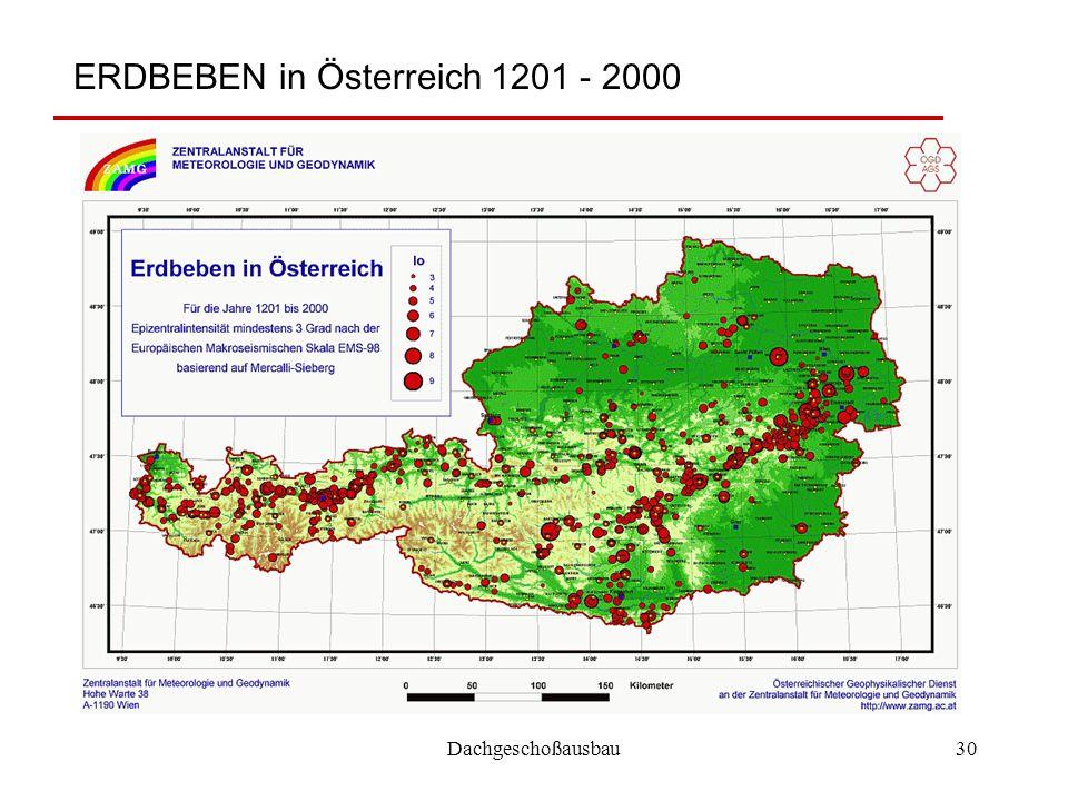 Dachgeschoßausbau30 ERDBEBEN in Österreich 1201 - 2000