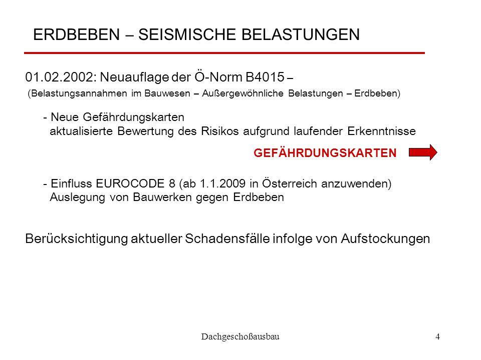Dachgeschoßausbau4 ERDBEBEN – SEISMISCHE BELASTUNGEN 01.02.2002: Neuauflage der Ö-Norm B4015 – (Belastungsannahmen im Bauwesen – Außergewöhnliche Bela