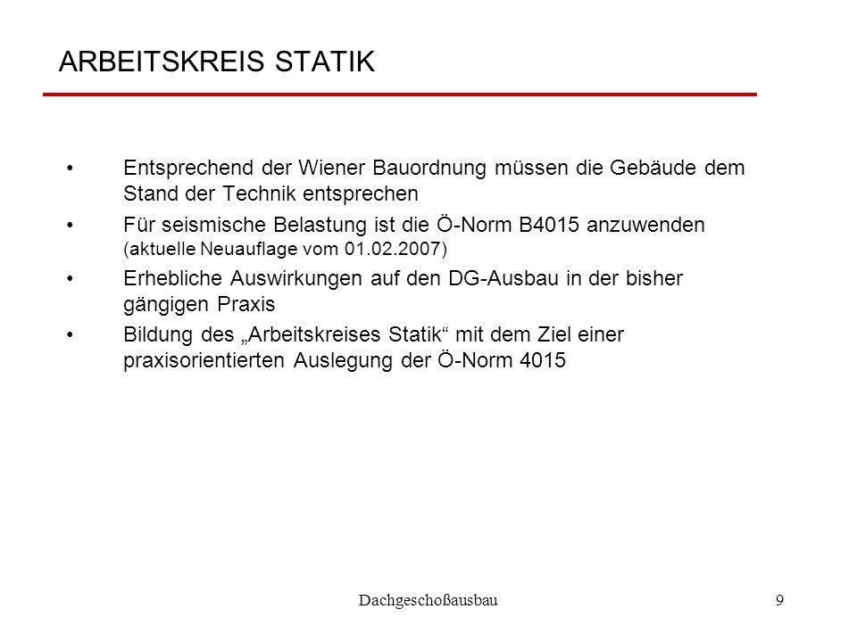 Dachgeschoßausbau9 ARBEITSKREIS STATIK Entsprechend der Wiener Bauordnung müssen die Gebäude dem Stand der Technik entsprechen Für seismische Belastun