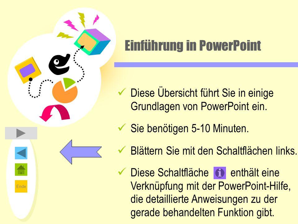 Ende Einführung in PowerPoint Diese Übersicht führt Sie in einige Grundlagen von PowerPoint ein. Sie benötigen 5-10 Minuten. Blättern Sie mit den Scha