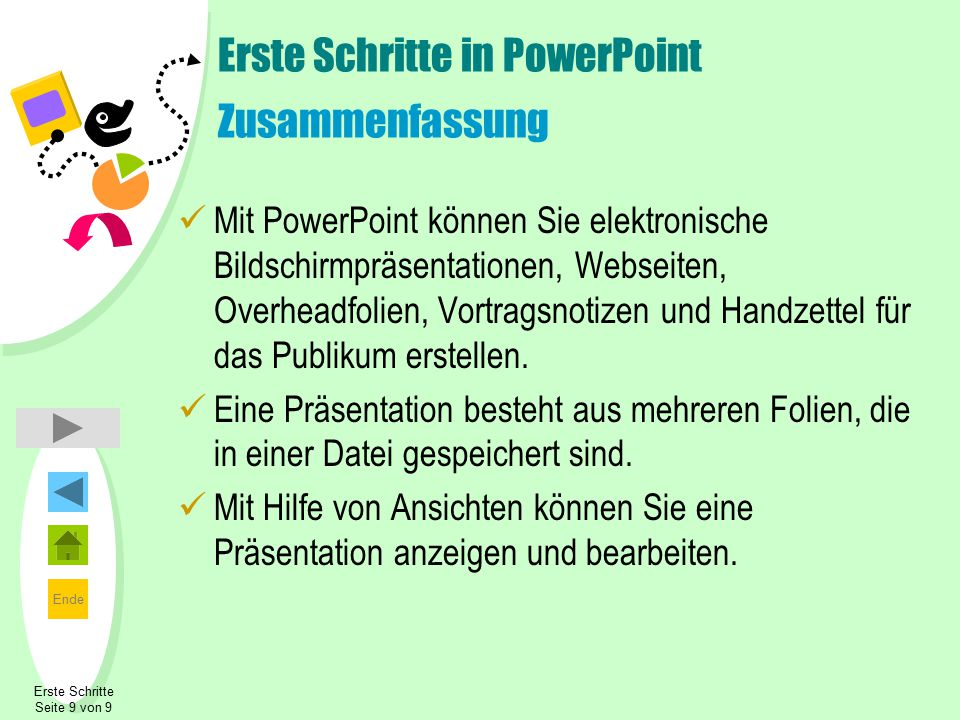 Ende Erste Schritte Seite 9 von 9 Erste Schritte in PowerPoint Zusammenfassung Mit PowerPoint können Sie elektronische Bildschirmpräsentationen, Webseiten, Overheadfolien, Vortragsnotizen und Handzettel für das Publikum erstellen.
