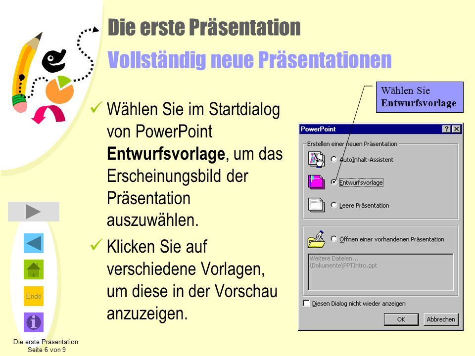 Ende Die erste Präsentation Vollständig neue Präsentationen Wählen Sie im Startdialog von PowerPoint Entwurfsvorlage, um das Erscheinungsbild der Präs