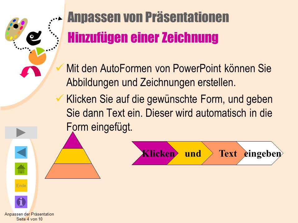 Ende Anpassen von Präsentationen Hinzufügen einer Zeichnung Mit den AutoFormen von PowerPoint können Sie Abbildungen und Zeichnungen erstellen.