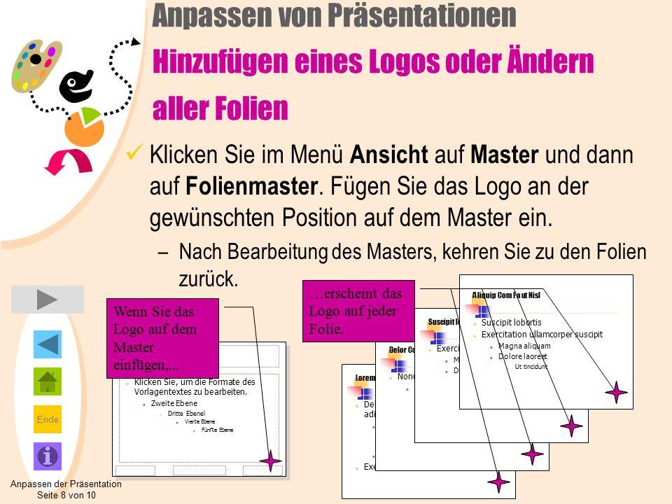 Ende Anpassen der Präsentation Seite 8 von 10 Click to edit Master title style Klicken Sie, um die Formate des Vorlagentextes zu bearbeiten.