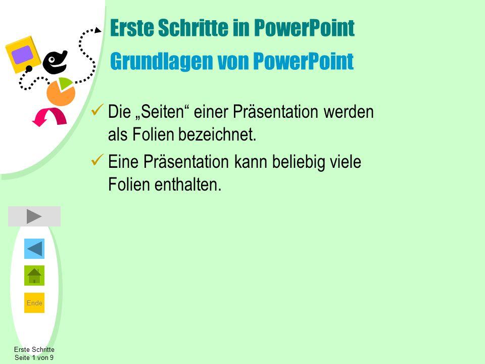 """Ende Erste Schritte Seite 1 von 9 Erste Schritte in PowerPoint Grundlagen von PowerPoint Die """"Seiten"""" einer Präsentation werden als Folien bezeichnet."""