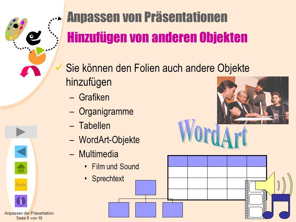 Ende Sie können den Folien auch andere Objekte hinzufügen –Grafiken –Organigramme –Tabellen –WordArt-Objekte –Multimedia Film und Sound Sprechtext Anpassen der Präsentation Seite 9 von 10 Anpassen von Präsentationen Hinzufügen von anderen Objekten