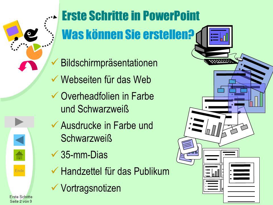 Ende Erste Schritte in PowerPoint Was können Sie erstellen? Bildschirmpräsentationen Webseiten für das Web Overheadfolien in Farbe und Schwarzweiß Aus