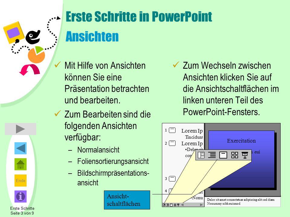 Ende Erste Schritte in PowerPoint Ansichten Mit Hilfe von Ansichten können Sie eine Präsentation betrachten und bearbeiten. Zum Bearbeiten sind die fo