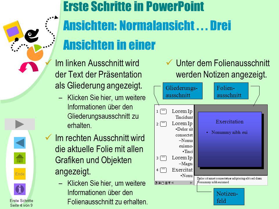 Ende Zurück Erste Schritte in PowerPoint Ansichten: Gliederungsausschnitt Im Gliederungsausschnitt wird der Text der Präsentation ohne Grafiken angezeigt.