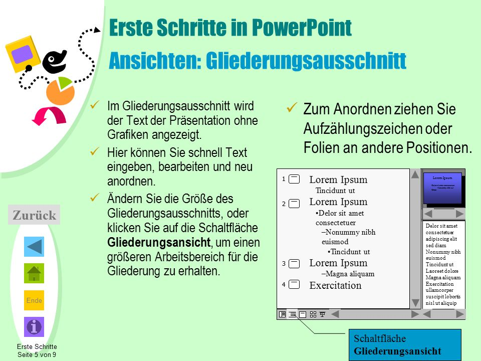 Ende Zurück Erste Schritte in PowerPoint Ansichten: Gliederungsausschnitt Im Gliederungsausschnitt wird der Text der Präsentation ohne Grafiken angeze