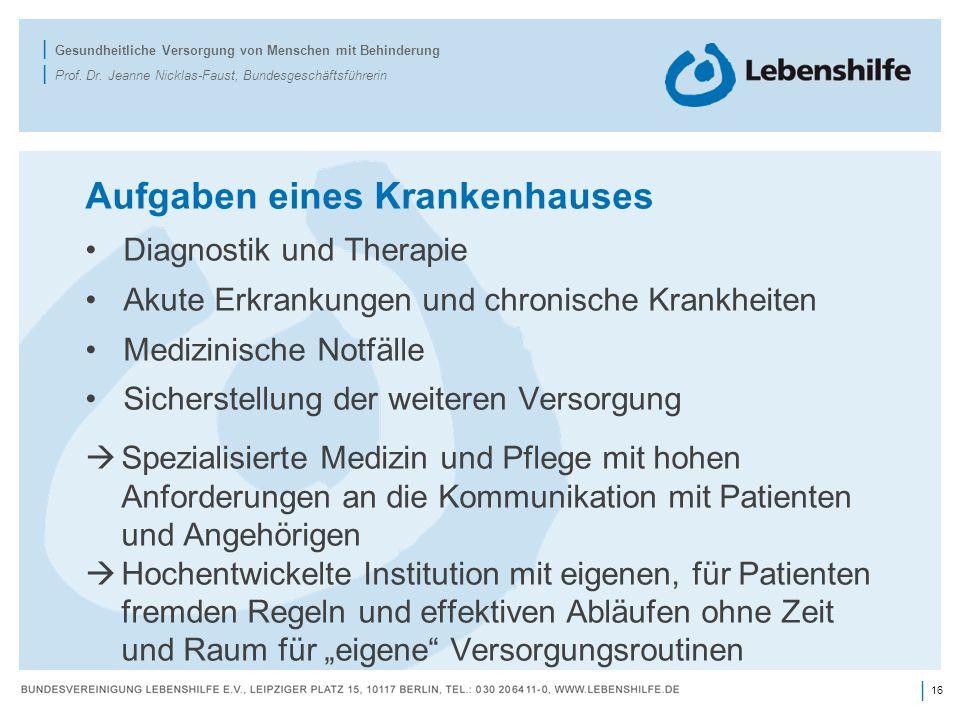 16 | | Gesundheitliche Versorgung von Menschen mit Behinderung | Prof.