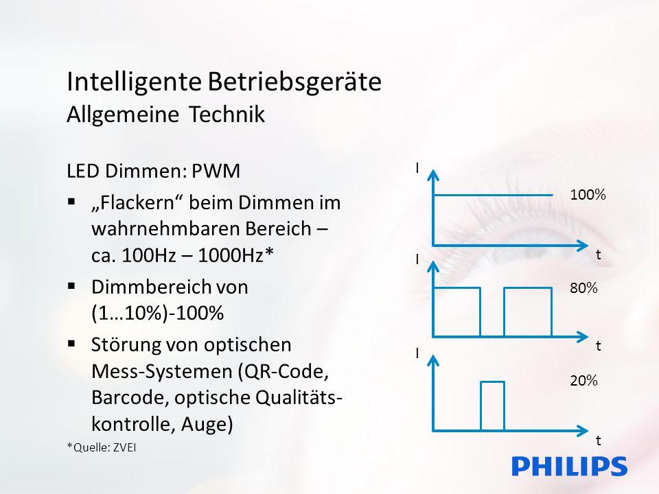 """Intelligente Betriebsgeräte Allgemeine Technik LED Dimmen: PWM  """"Flackern"""" beim Dimmen im wahrnehmbaren Bereich – ca. 100Hz – 1000Hz*  Dimmbereich v"""