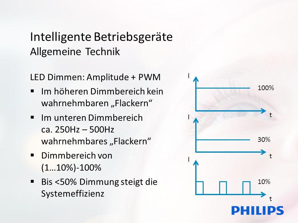 """Intelligente Betriebsgeräte Allgemeine Technik LED Dimmen: Amplitude + PWM  Im höheren Dimmbereich kein wahrnehmbaren """"Flackern  Im unteren Dimmbereich ca."""