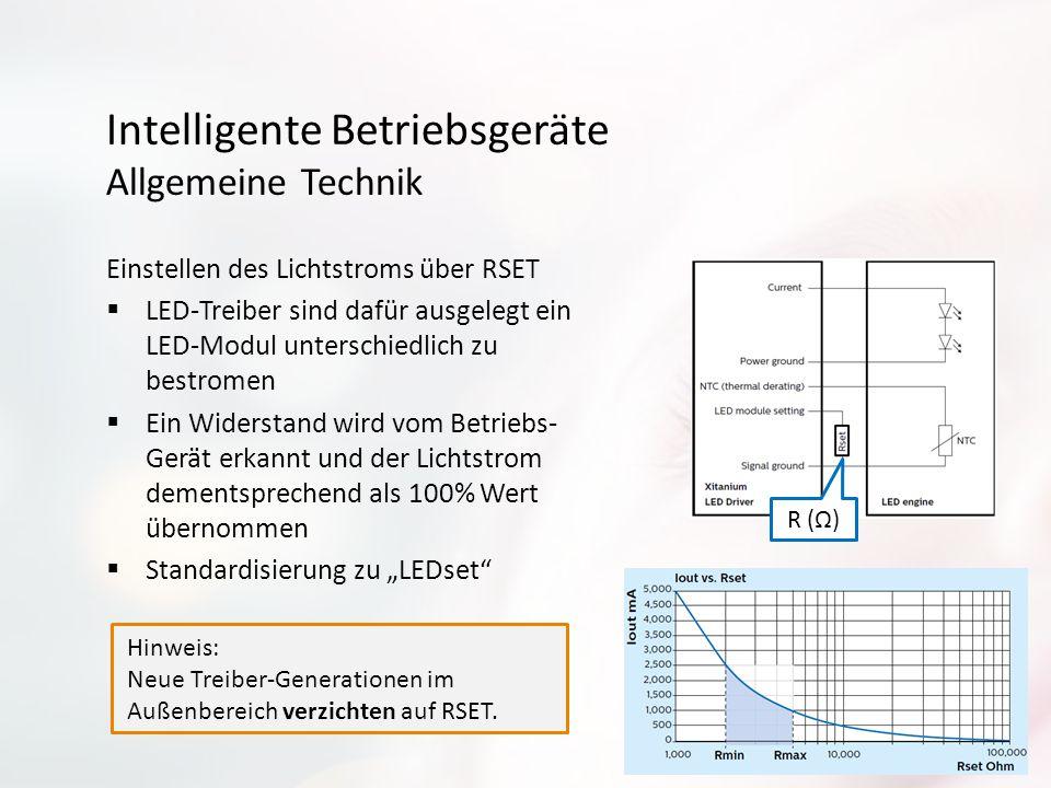 Intelligente Betriebsgeräte Allgemeine Technik Einstellen des Lichtstroms über RSET  LED-Treiber sind dafür ausgelegt ein LED-Modul unterschiedlich z