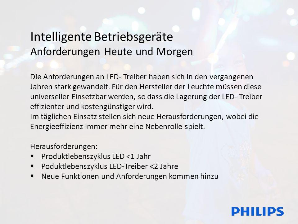 Intelligente Betriebsgeräte Anforderungen Heute und Morgen Die Anforderungen an LED- Treiber haben sich in den vergangenen Jahren stark gewandelt. Für
