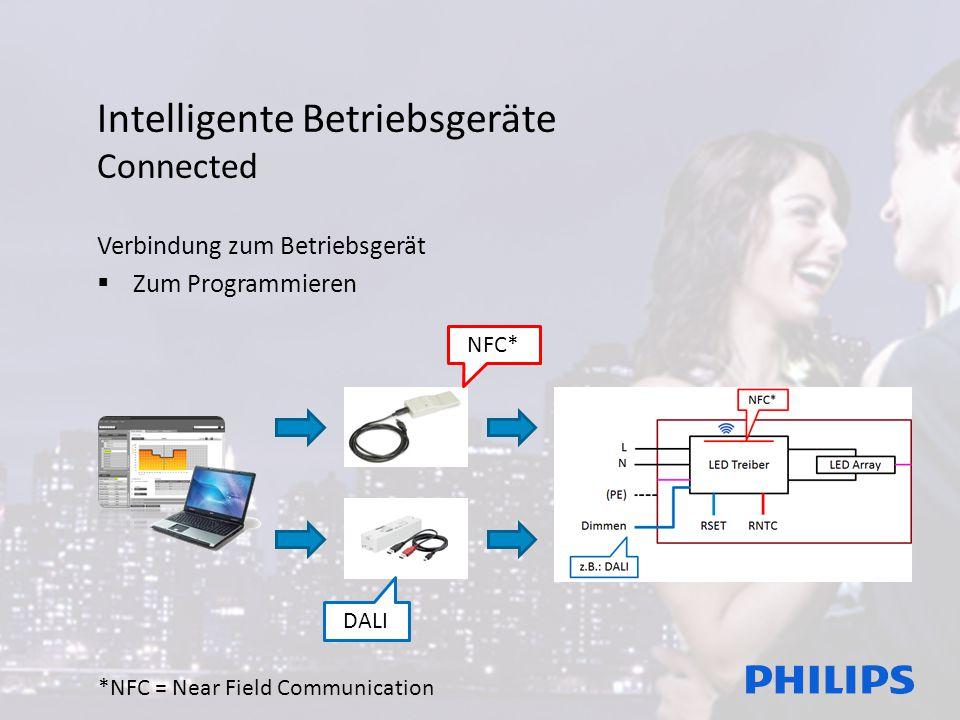Intelligente Betriebsgeräte Connected Verbindung zum Betriebsgerät  Zum Programmieren NFC* DALI *NFC = Near Field Communication