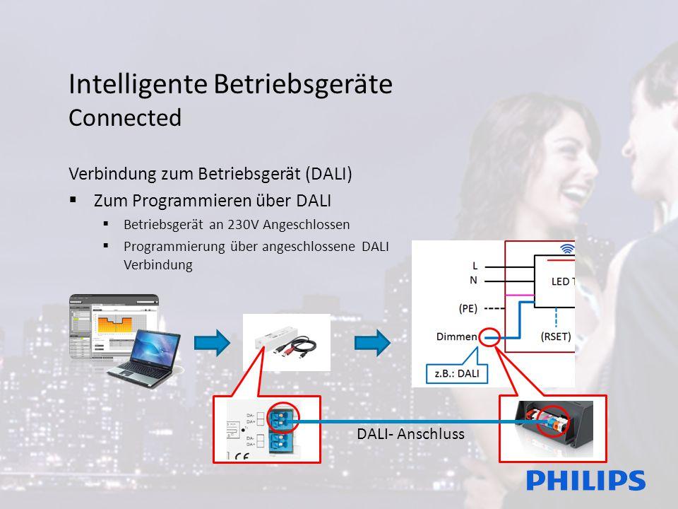 Intelligente Betriebsgeräte Connected Verbindung zum Betriebsgerät (DALI)  Zum Programmieren über DALI  Betriebsgerät an 230V Angeschlossen  Programmierung über angeschlossene DALI Verbindung DALI- Anschluss