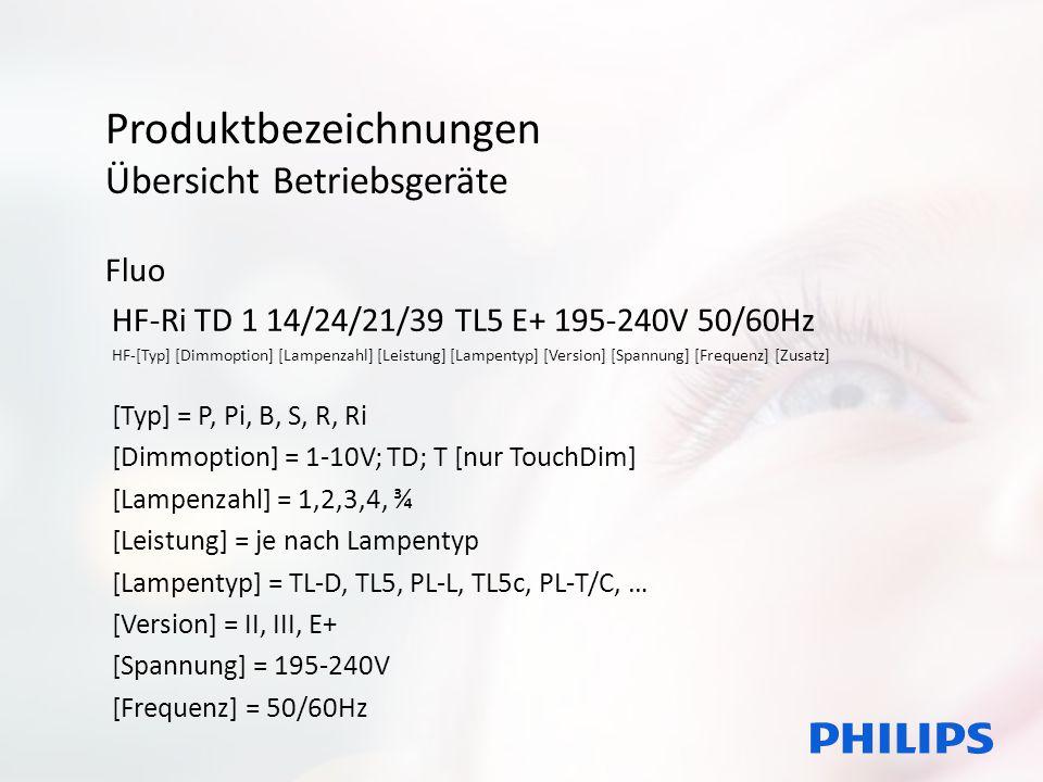 Produktbezeichnungen Übersicht Betriebsgeräte Fluo HF-Ri TD 1 14/24/21/39 TL5 E+ 195-240V 50/60Hz HF-[Typ] [Dimmoption] [Lampenzahl] [Leistung] [Lampe