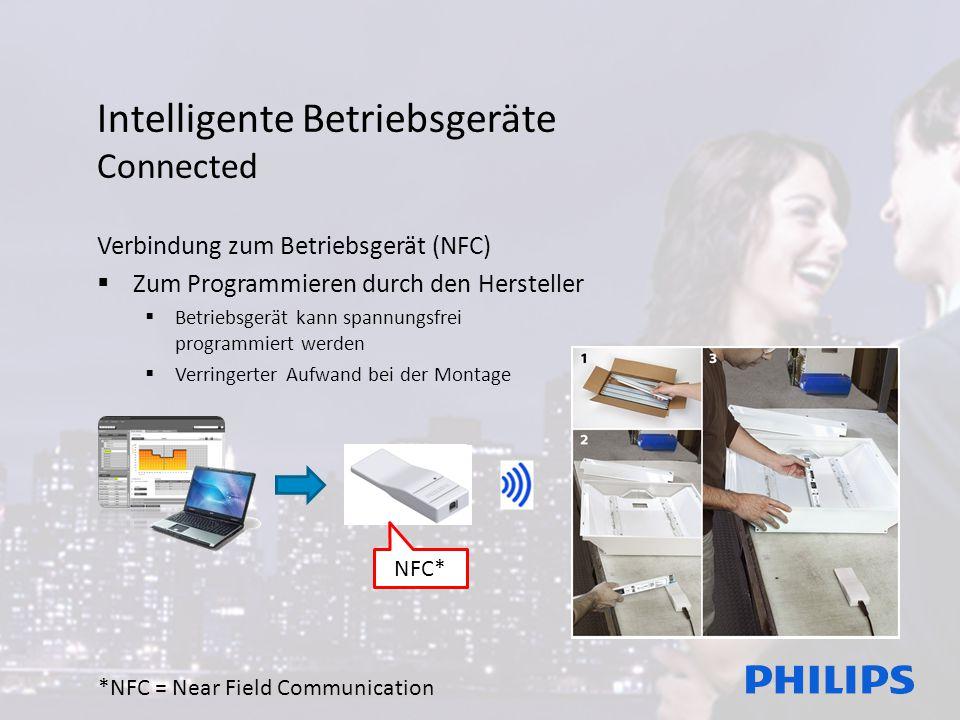 Intelligente Betriebsgeräte Connected Verbindung zum Betriebsgerät (NFC)  Zum Programmieren durch den Hersteller  Betriebsgerät kann spannungsfrei programmiert werden  Verringerter Aufwand bei der Montage *NFC = Near Field Communication NFC*