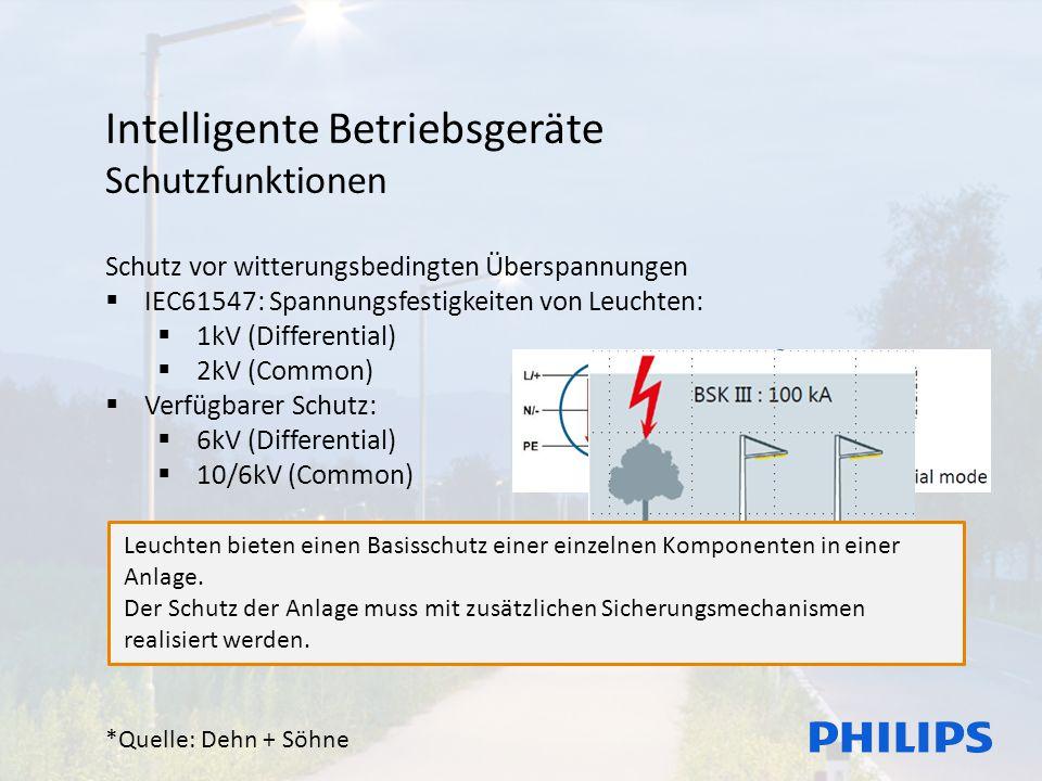 Intelligente Betriebsgeräte Schutzfunktionen Schutz vor witterungsbedingten Überspannungen  IEC61547: Spannungsfestigkeiten von Leuchten:  1kV (Differential)  2kV (Common)  Verfügbarer Schutz:  6kV (Differential)  10/6kV (Common) Beispiel:  Blitzeinschlag im Baum*  300m  11kV (nach Norm)  300m  53kV (real) *Quelle: Dehn + Söhne Leuchten bieten einen Basisschutz einer einzelnen Komponenten in einer Anlage.