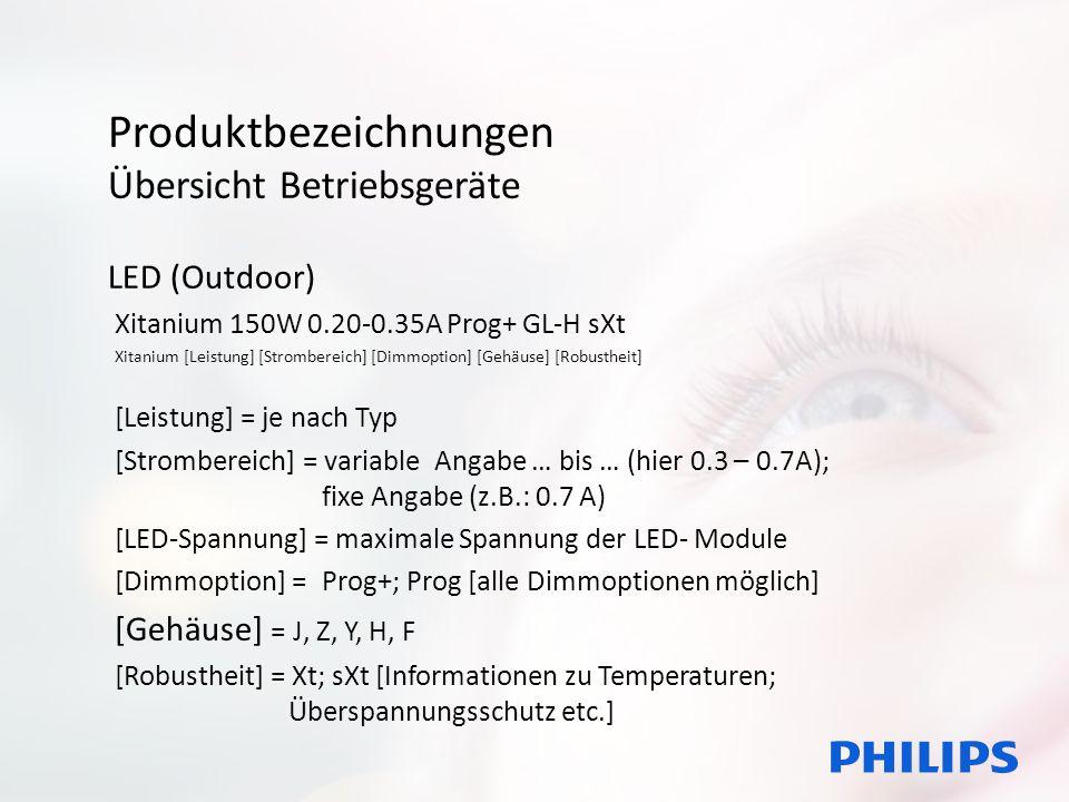 Produktbezeichnungen Übersicht Betriebsgeräte LED (Outdoor) Xitanium 150W 0.20-0.35A Prog+ GL-H sXt Xitanium [Leistung] [Strombereich] [Dimmoption] [G