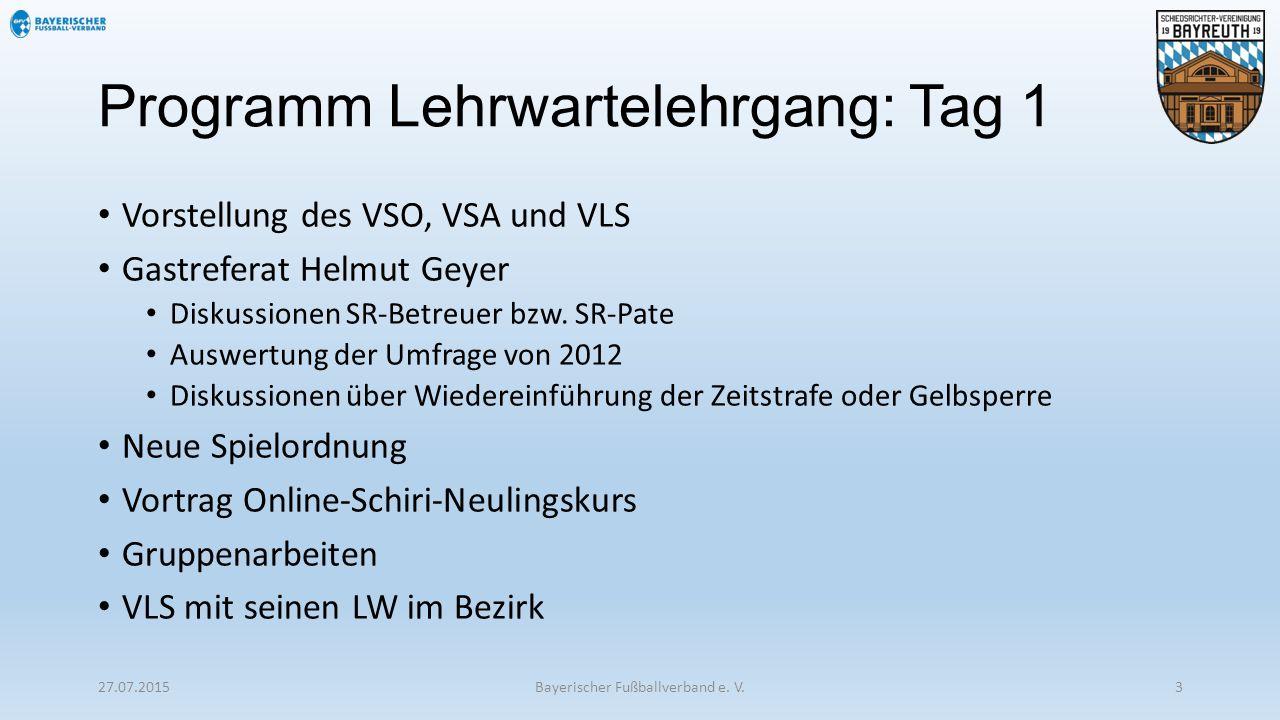 Programm Lehrwartelehrgang: Tag 1 Vorstellung des VSO, VSA und VLS Gastreferat Helmut Geyer Diskussionen SR-Betreuer bzw. SR-Pate Auswertung der Umfra