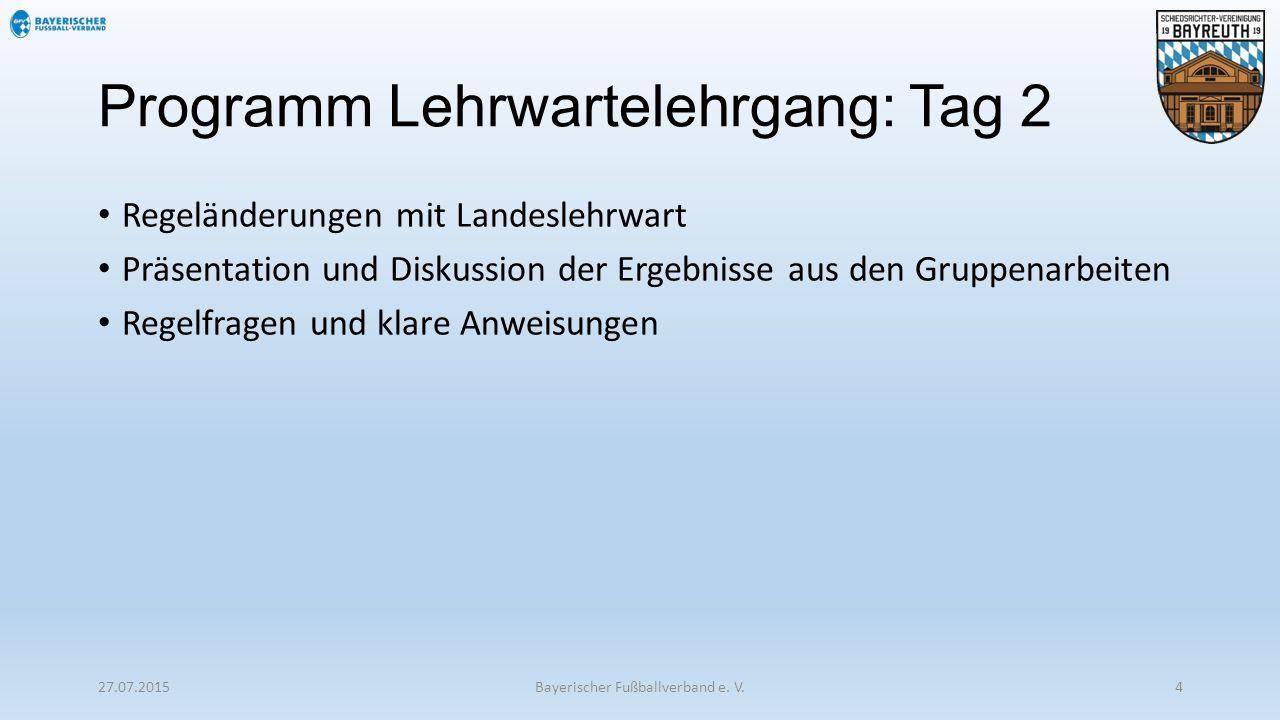 Programm Lehrwartelehrgang: Tag 2 Regeländerungen mit Landeslehrwart Präsentation und Diskussion der Ergebnisse aus den Gruppenarbeiten Regelfragen un