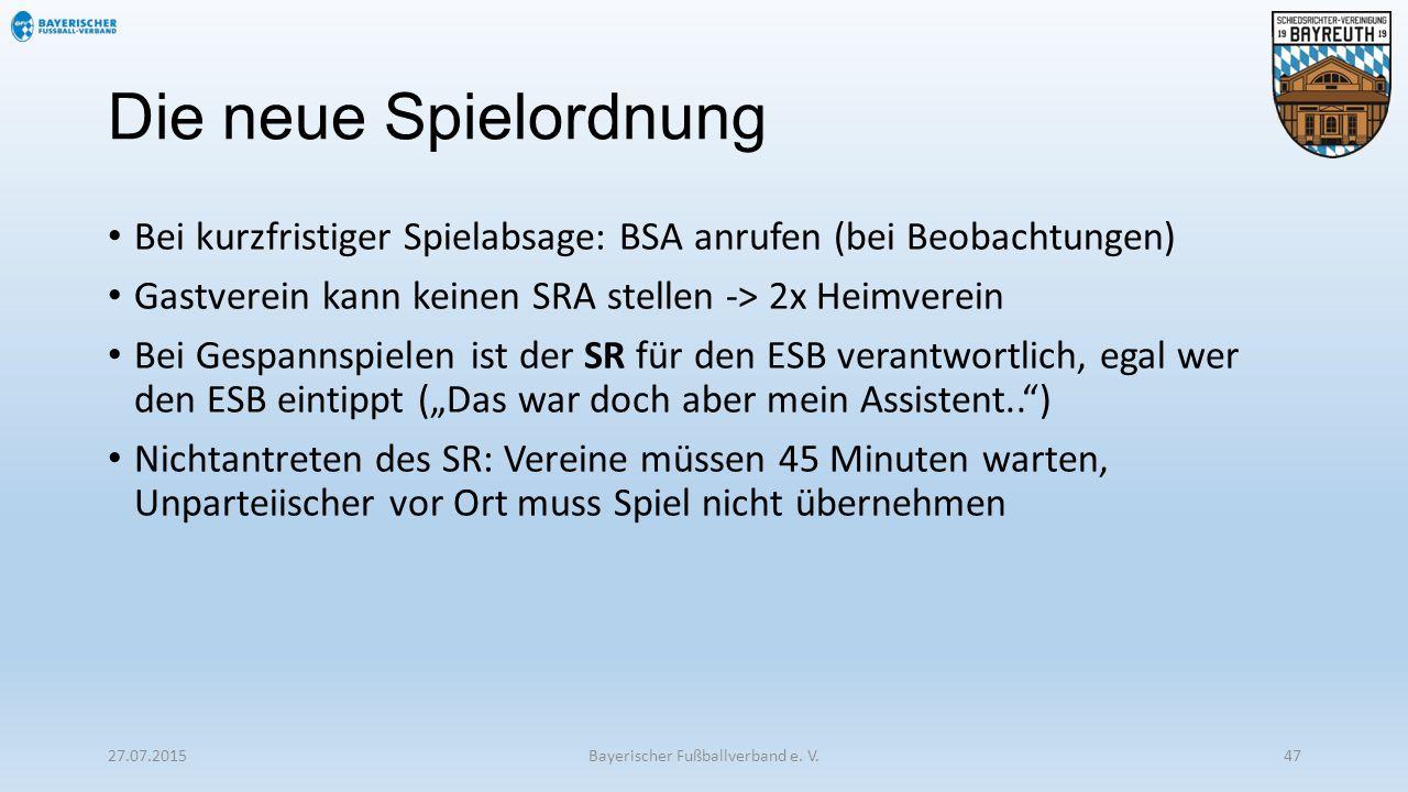 Die neue Spielordnung Bei kurzfristiger Spielabsage: BSA anrufen (bei Beobachtungen) Gastverein kann keinen SRA stellen -> 2x Heimverein Bei Gespannsp