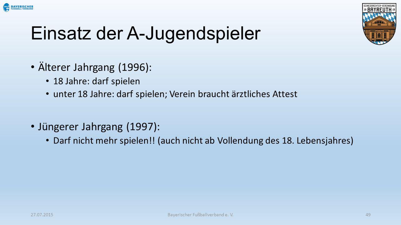 Einsatz der A-Jugendspieler Älterer Jahrgang (1996): 18 Jahre: darf spielen unter 18 Jahre: darf spielen; Verein braucht ärztliches Attest Jüngerer Ja
