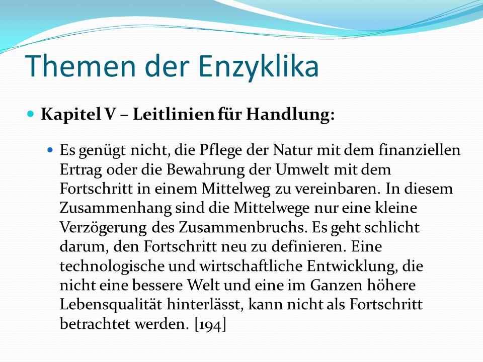 Themen der Enzyklika Kapitel V – Leitlinien für Handlung: Es genügt nicht, die Pflege der Natur mit dem finanziellen Ertrag oder die Bewahrung der Umw
