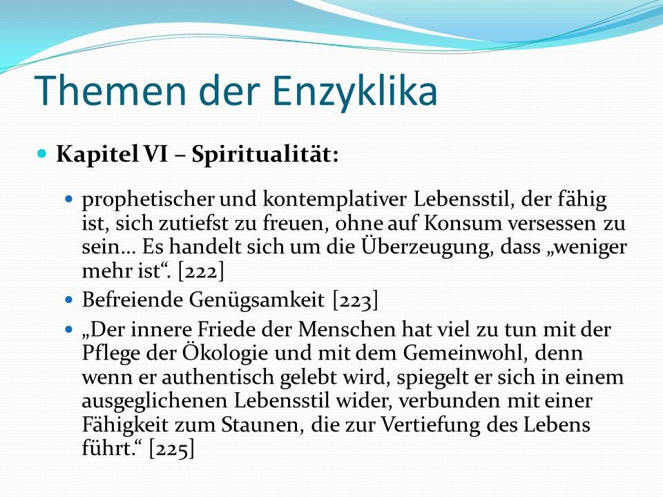 Themen der Enzyklika Kapitel VI – Spiritualität: prophetischer und kontemplativer Lebensstil, der fähig ist, sich zutiefst zu freuen, ohne auf Konsum
